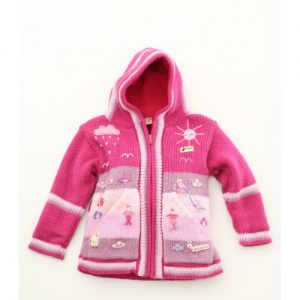 Girl Alpaca Cardigan Fuschia Pink