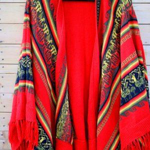 Bohemian free spirit alpaca poncho red, ALPACA peruvian fleece