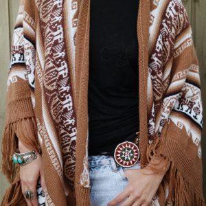 Bohemian free spirit alpaca poncho brown
