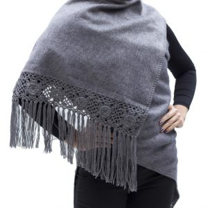 Alpaca Wool Winter Shawl Wrap with Crocheted Fringe handmade