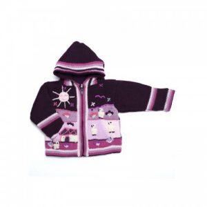 Children's Cardigan Purple of alpaca