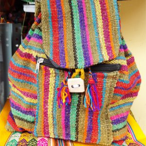 Raw Wool Backpack, Natural Dyes artisan Backpack