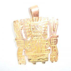 Gold pendant sun gate made in Perú