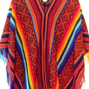 Peruvian Traditional Wool Blend Poncho - Red/Black/Rainbow,