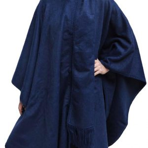 Alpaca Wool Cloak With Matching Scarf Blue