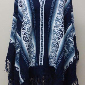 Bohemian free spirit alpaca poncho blue