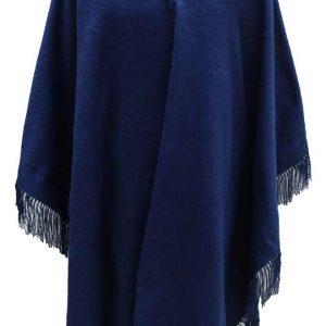 Alpaca Wool Winter Fringed Poncho blue