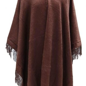 Alpaca Wool Winter Fringed Poncho Brown