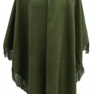 Alpaca Wool Winter Fringed Poncho green