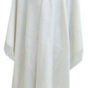 Alpaca Wool Winter Fringed Poncho white