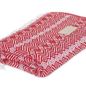 Red and white blanket, Throw Blanket, Alpaca Wool Blanket