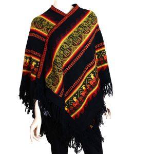 Bohemian free spirit alpaca poncho black