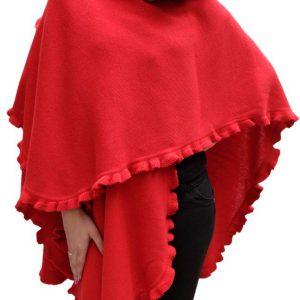 Ruana Poncho red of Baby Alpaca Shawl Wrap