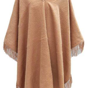 Alpaca Wool Winter Fringed Poncho cinnamon