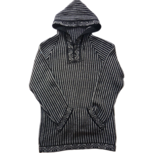 Alpaca striped sweater with hood