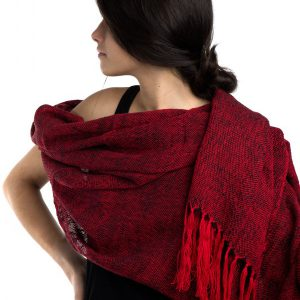 SHAWL RED AND BLACK ALPACA