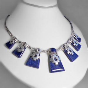 Silver and sodalite necklace chakanas