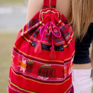 Peruvian handmade red backpack